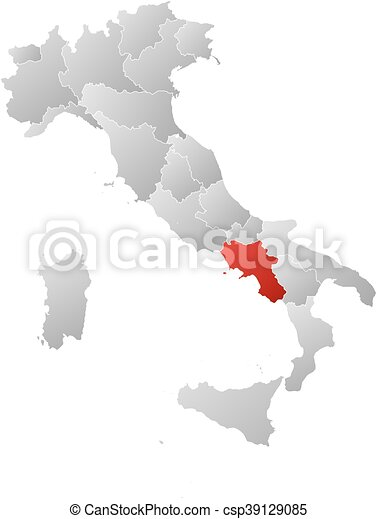 Map italy campania Map of italy with the provinces vector