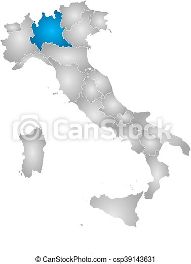 Map - italy, lombardy. Map of italy with the provinces, filled with ...