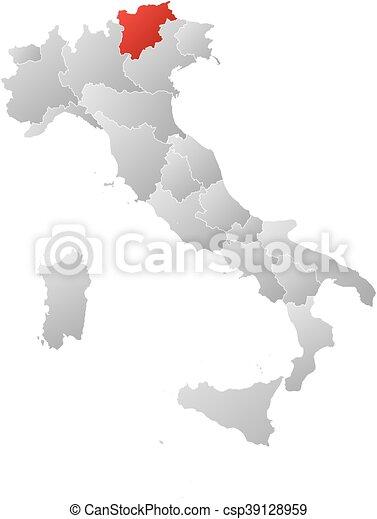 Map - Italy, Trentino-Alto Adige/Suedtirol - csp39128959