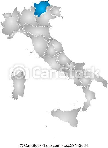 Map - Italy, Trentino-Alto Adige/Suedtirol - csp39143634