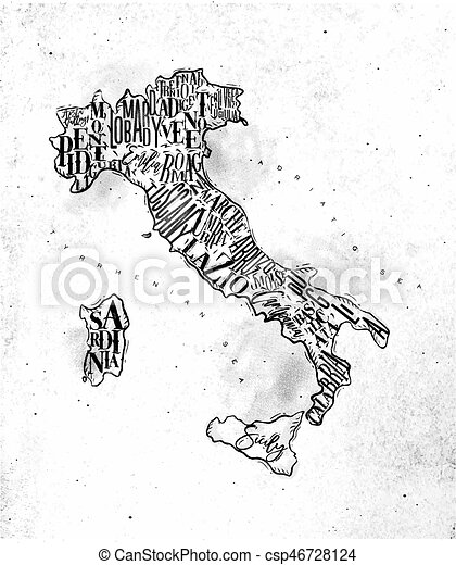 Map Italy vintage - csp46728124