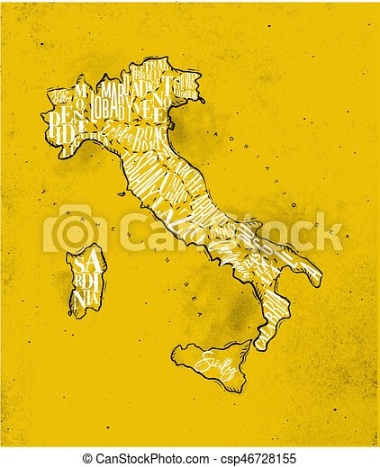 Map Italy vintage yellow - csp46728155