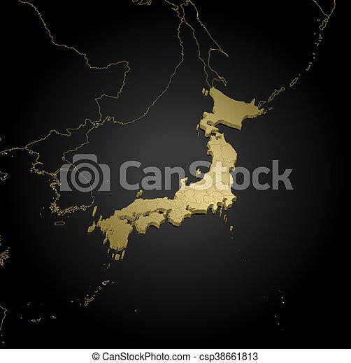 Map - Japan - 3D-Illustration - csp38661813