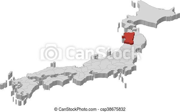 Vectors Of Map Japan Akita DIllustration Map Of Japan As - Japan map sketch
