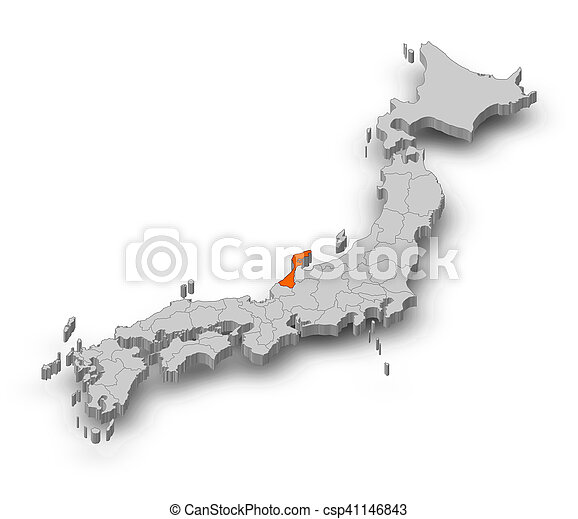 Stock Photo Of Map Japan Ishikawa DIllustration Map Of - Japan map 3d