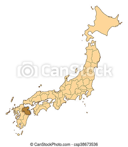 Map japan oita Map of japan with the provinces oita is stock