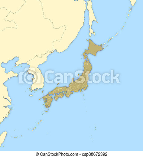 Map japan map of japan and nearby countries japan is highlighted map japan csp38672392 gumiabroncs Gallery