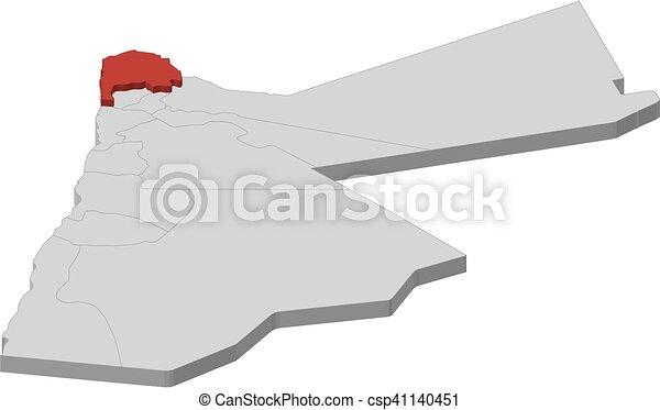 Map jordan irbid 3dillustration Map of jordan as a clipart