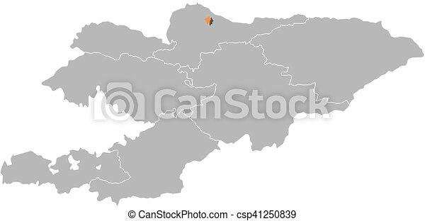 Map kyrgyzstan bishkek map of kyrgyzstan with the provinces map kyrgyzstan bishkek csp41250839 gumiabroncs Choice Image