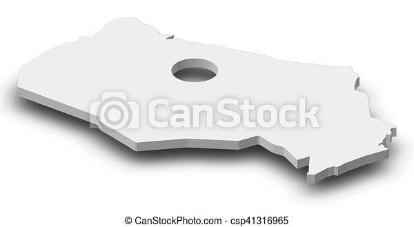 Map - Kyzylorda (Kazakhstan) - 3D-Illustration