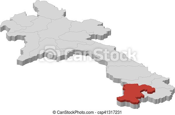 Map laos champasak 3dillustration Map of laos as a vectors