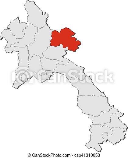 Map Laos Hua Phan Map Of Laos With The Provinces Hua - Laos map vector