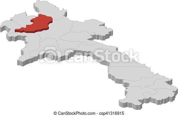 Map Laos Oudomxay Dillustration Map Of Laos As A Vector - Laos map vector