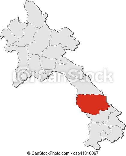 Map laos savannakhet Map of laos with the provinces clip art