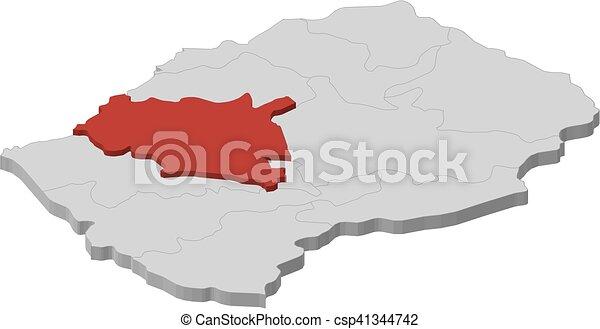 Map Lesotho Maseru Dillustration Map Of Lesotho As A - maseru map