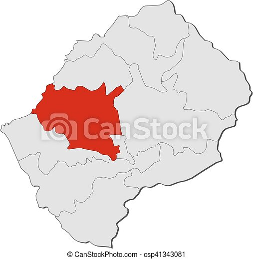 Map Lesotho Maseru Map Of Lesotho With The Provinces - maseru map