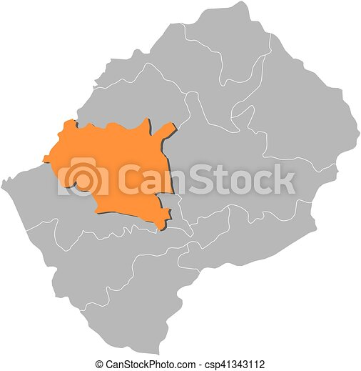 Map lesotho maseru Map of lesotho with the provinces vector