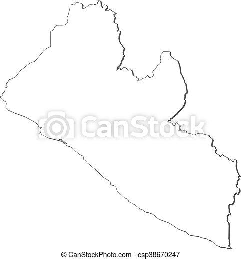 Map - liberia. Map of liberia, contous as a black line.