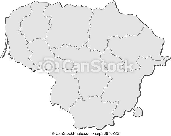 Map Lithuania Map Of Lithuania With The Provinces Vector - Lithuania map vector