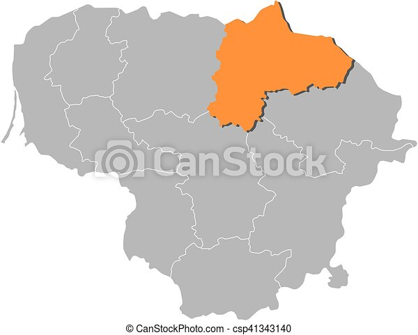 Map Lithuania Panevezys Map Of Lithuania With The Eps - Lithuania map vector