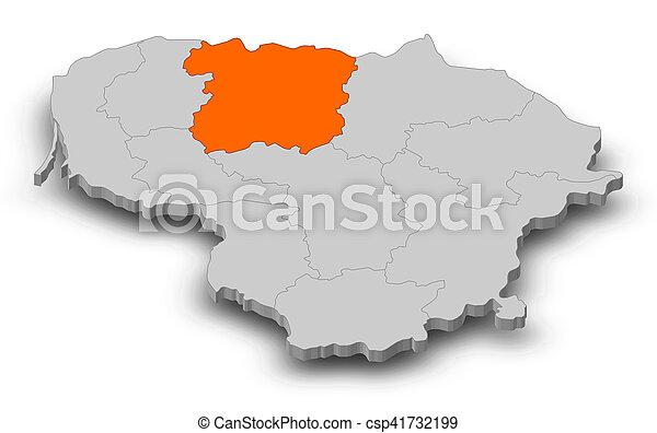 Map lithuania siauliai 3dillustration Map of stock