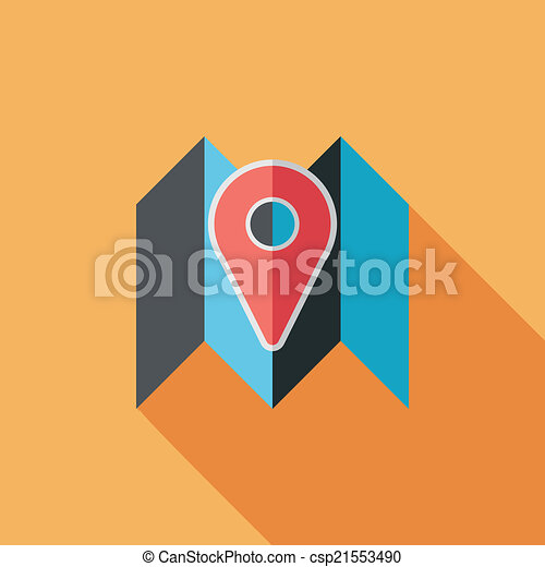 map location flat icon with long shadow - csp21553490