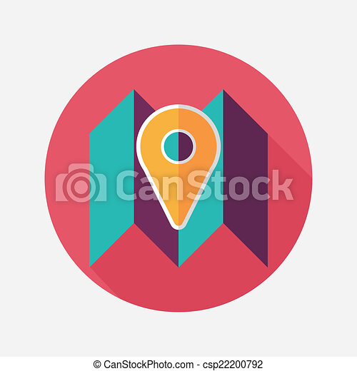 map location flat icon with long shadow - csp22200792