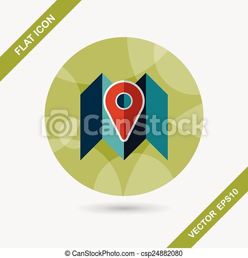 map location flat icon with long shadow - csp24882080