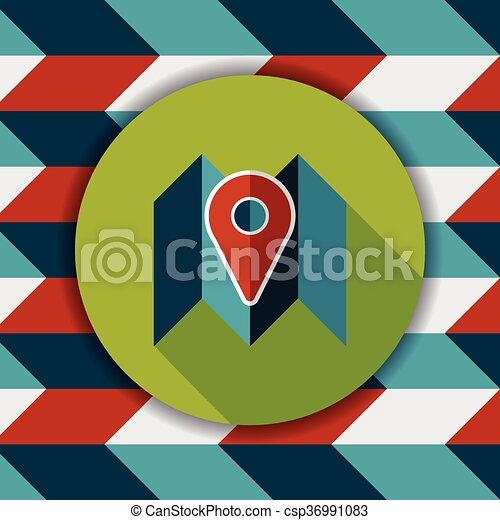 map location flat icon with long shadow - csp36991083