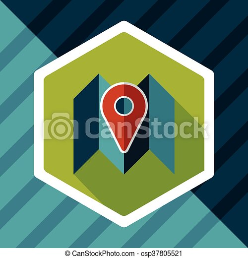 map location flat icon with long shadow - csp37805521