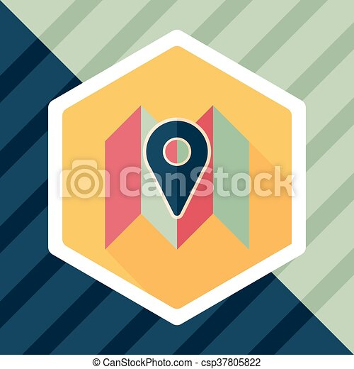 map location flat icon with long shadow - csp37805822