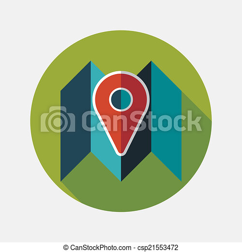 map location flat icon with long shadow - csp21553472