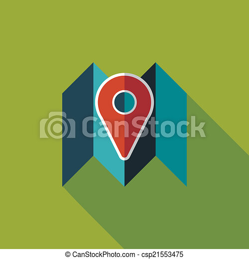 map location flat icon with long shadow - csp21553475