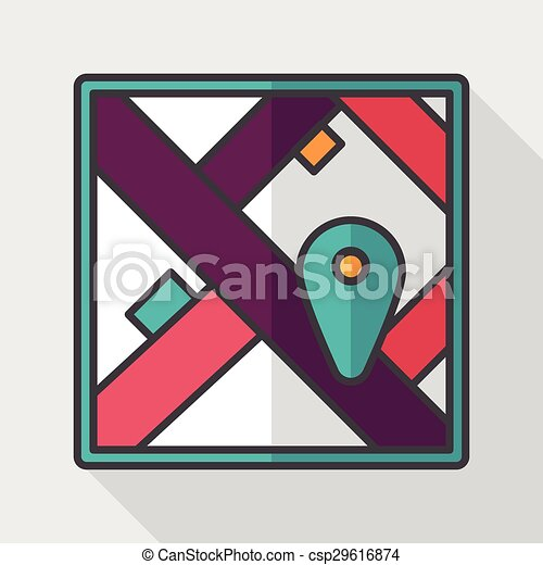 map location flat icon with long shadow - csp29616874