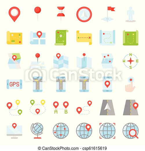 Map, location, pin and navigation vector flat design icon - csp61615619