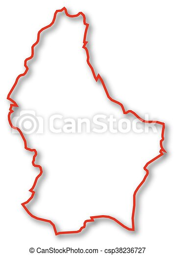 Map Luxembourg Map Of Luxembourg In Red Contour Lines Vector - Luxembourg map vector