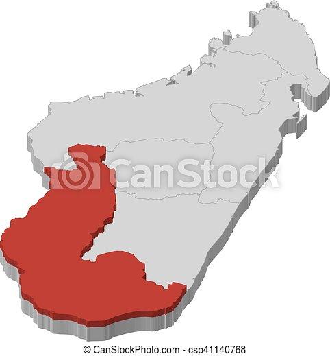 Map - madagascar, toliara - 3d-illustration. Map of madagascar as a ...
