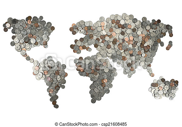 Map made of coins isolated on white - csp21608485