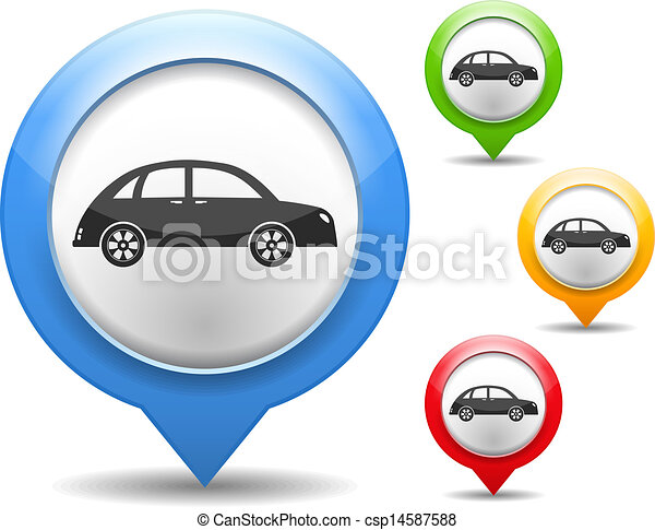 Map marker with icon of a retro car - csp14587588