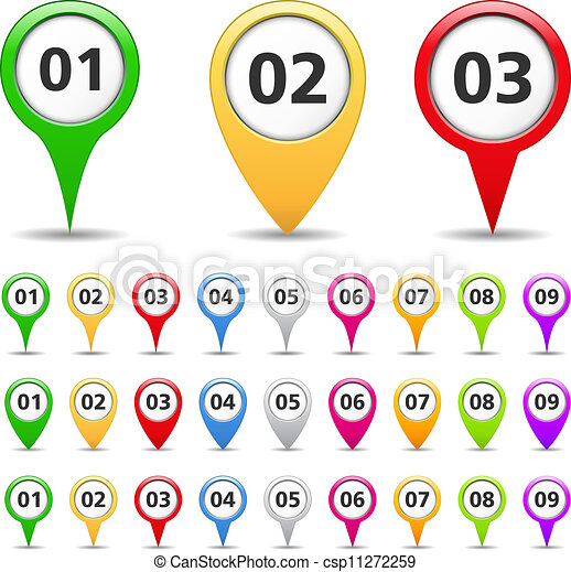 Map markers with numbers - csp11272259