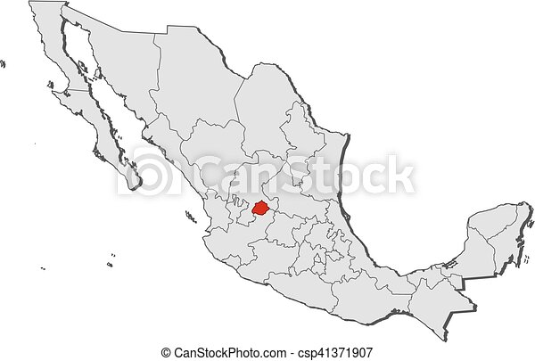 Map mexico aguascalientes Map of mexico with the vector