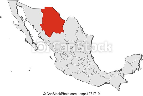 Map Of Chihuahua Mexico Vector Map Of State Chihuahua With Coat Of