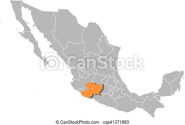 Map - mexico, michoacan. Map of mexico with the provinces, michoacan ...
