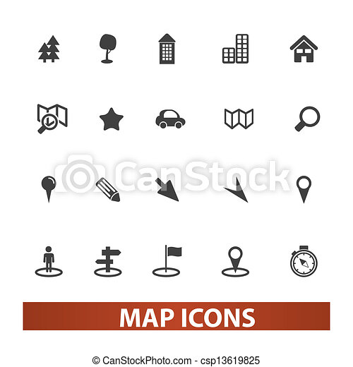 map & navigation icons set, vector - csp13619825