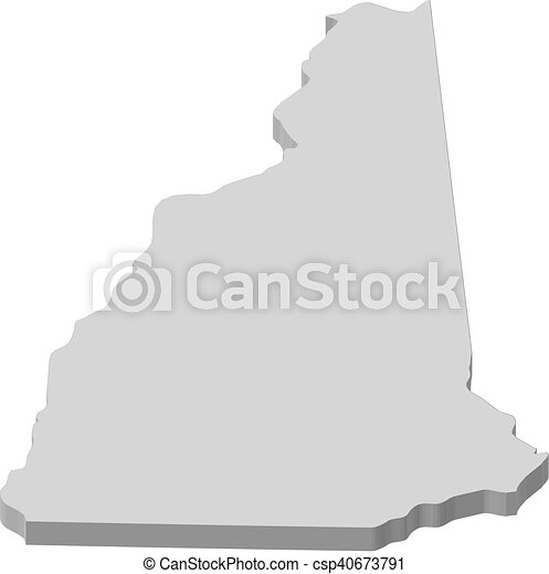 map new hampshire united states 3d ilration