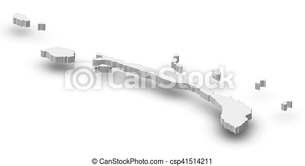 Map New Ireland Papua New Guinea 3d Illustration Map Of New