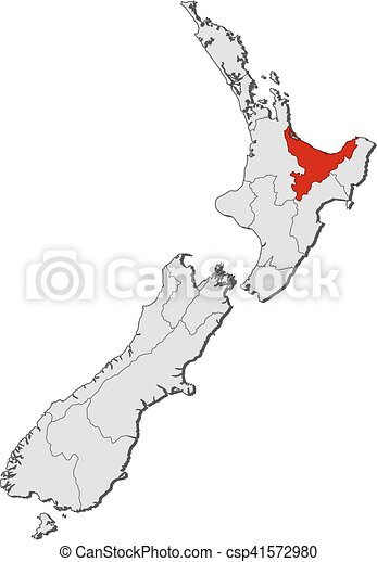 New Zealand Provinces Map.Map New Zealand Bay Of Plenty Map Of New Zealand With The