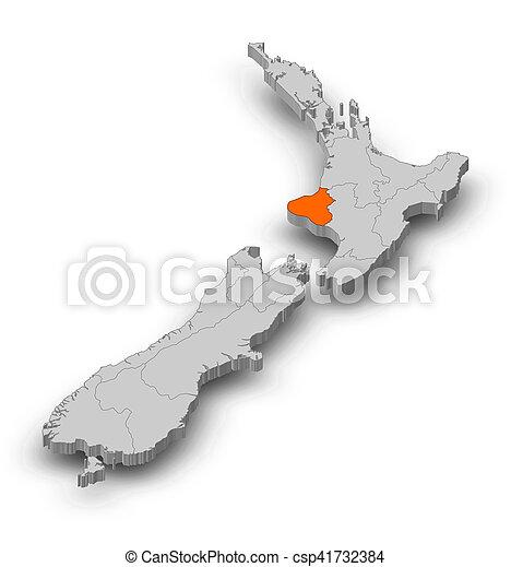 Where Is Wanganui In New Zealand Map.Map New Zealand Manawatu Wanganui 3d Illustration