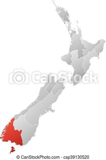 New Zealand Provinces Map.Map New Zealand Southland Map Of New Zealand With The Provinces