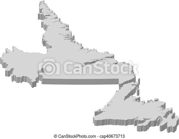 Map newfoundland and labrador canada 3dillustration